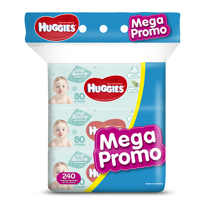 HUGGIES TOALLITAS ONE & DONE SUPER OFERTA x 240 UNID